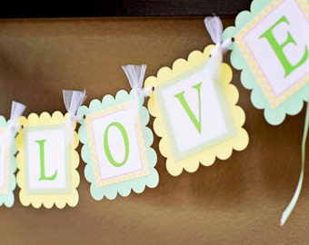 Sprinkled With Love Baby Shower Banner Baby Girl Sprinkle With Love Baby Boy Sprinkle Decorations Mint Green and Yellow Sprinkle Banner