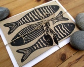 SALE Hand Printed Seaside Grey Fish Notecard - Lino/Block Print