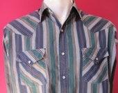 Mens LARGE cowboy shirt, Ely Plains, vintage, navy, Irish green, and gray striped, pearl snaps (345)