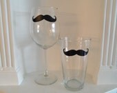 Mustache Wine and Pint Glasses - Set  of 2 - Housewares - Glassware - Barware - Moustache - Mustache Glass - Christmas - Holidays