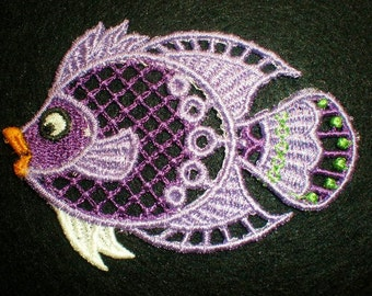 Embroidered Lace Fish Appliques, Quilts, Crafts, Scrapbooking, Ornaments