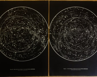 1950's Original Stars & Constellations Maps Hemispheres Vintage Astronomy Astrology Prints