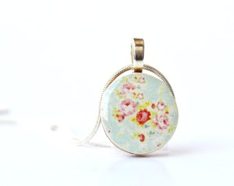 Blue Vintage floral Pendant necklace flower jewelry shabby chic delicate jewelry wood pendant eco friendly jewelry wood jewelry