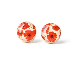 Red poppy studs post earrings red earrings wood earrings eco friendly jewelry earrings wood earrings spring jewelry for her