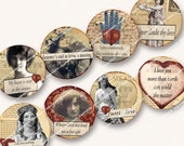 1.5in SHAKESPEARE LOVE QUOTES circles for jewelry pendants bezel  buttons valentines engagements weddings  MagentaBelle download 43
