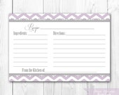 Recipe Card - Printable. Lilac Lavender and Gray Chevron Recipe Card. DIY Print Yourself. INSTANT DOWNLOAD