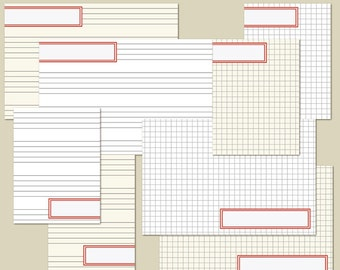 """INSTANT DOWNLOAD - Printable Journaling Cards """"Label Red"""" - Project Life - Scrapbooking - Ledger"""
