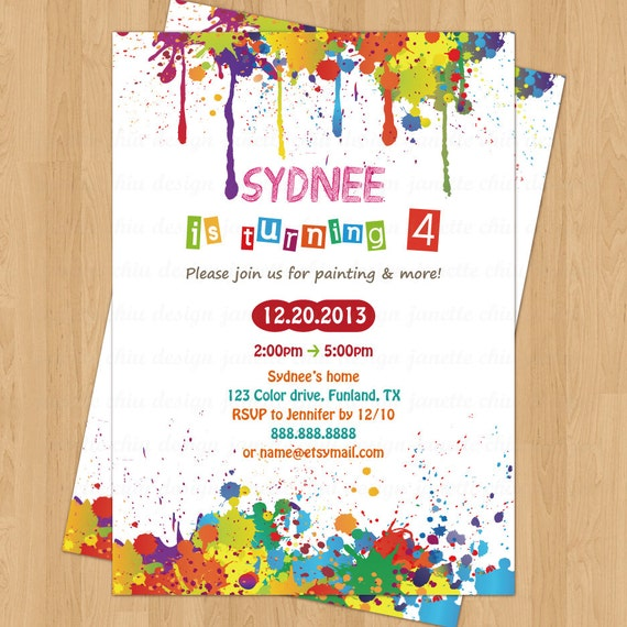 Arts And Crafts Birthday Party Invitation Digital Printable
