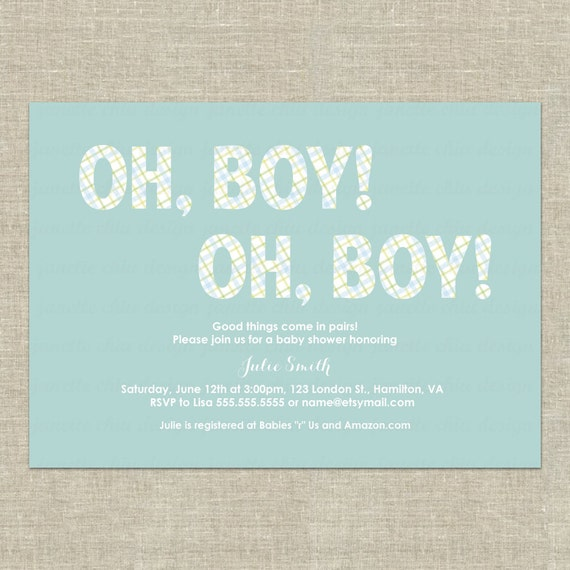Baby Shower Invitations Wording For Boys: Twin Boys Baby Shower Invitation Digital By JanetteChiuDesign