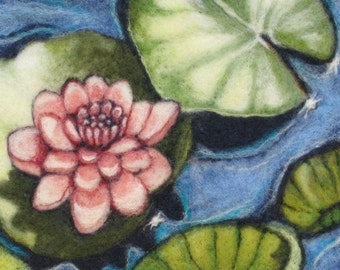 Needle Felted Wool Painting Of A Lily pond - Pink Lily Original Wool Painting 8 x 10