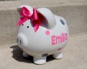 LARGE personalized polka dot piggy bank