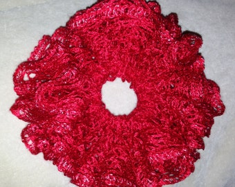 Gorgeous Lace Hair Scrunchie Red with Sparkles
