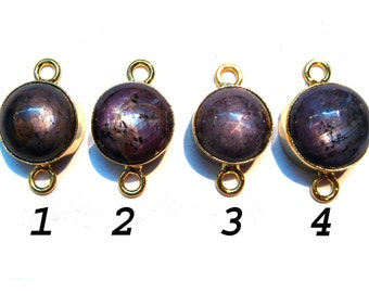 Natural Ruby Star Gemstone Cabochon 24 kt. Gold Plated Connectors , Round Shape Star Ruby gem stone connectors , gold plated links findings