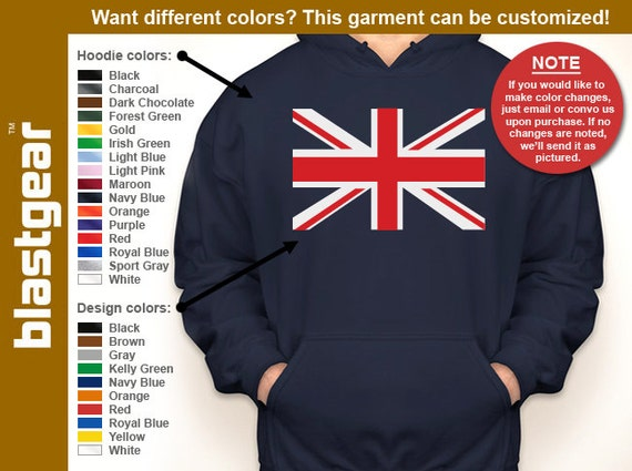 Union Jack United Kingdom hooded sweatshirt — Any color/Any size - Adult S, M, L, XL, 2XL, 3XL, 4XL, 5XL  Youth S, M, L, XL