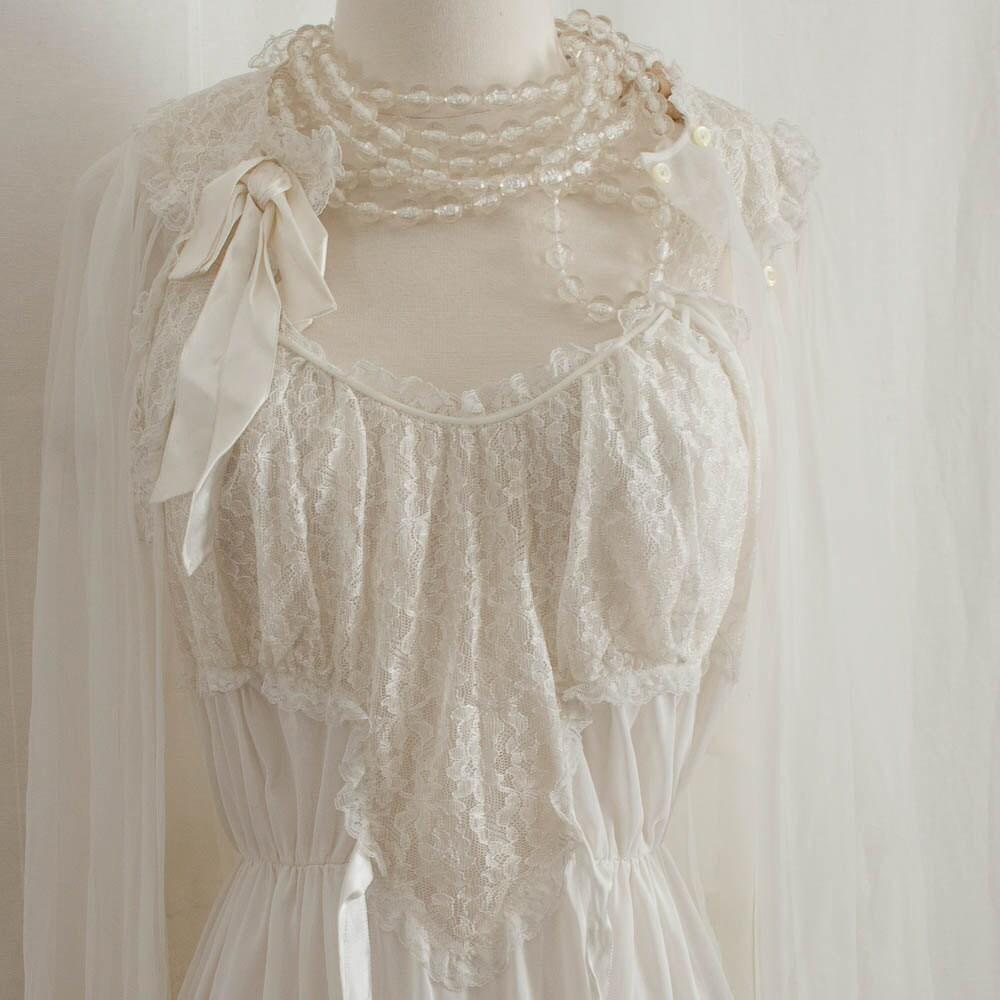 Vintage Bridal Lace Lingerie Peignoir Set 1950s Romantic