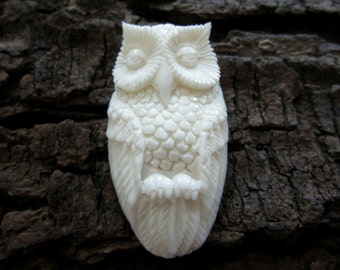 Excellent detail   Hand Carved  Owl, Bone carving, Natural  Cabochon, Jewelry making Supplies S2457
