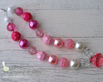 Toddler Child Chunky Necklace - Pink Ombre -  Baby Girl Child Necklace Bracelet