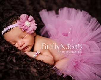 Tutu and Headband Set - Rosey Pink - Newborn Tutu - Girls Infant Baby Child Toddler Tutu