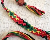 Rasta Arrowhead Adjustable Friendship Bracelet with Hemp