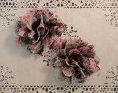 "Pink Floral / Black Mesh  4.5"" Chiffon Mesh Flowers - 2 PCS"