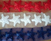 12 PCS Patriotic Rose Mesh Chiffon Stars - 3 Colors To Choose From