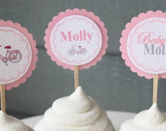 VINTAGE BICYCLE Themed Baby Shower Cupcake Toppers 12 {One Dozen}