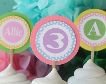 PREPPY POLKADOT MONOGRAM Theme Happy Birthday or Baby Shower Party Cupcake Toppers You Pick Colors {One Dozen} - Party Packs Available