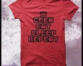 """Geek t-shirt mens """"Geek, eat, sleep, repeat"""""""