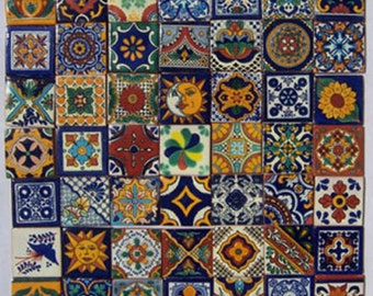 """On Sale-Mexican Talavera Tile 50 2"""" x 2"""" pieces for your craft or construction project"""