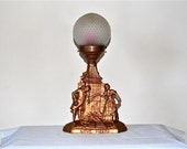 Spelter Love Lamp Vintage Boy Meets Girl in Front of a Weird Building