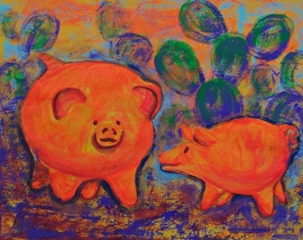 SALE Acrylic painting kids room or pig collector  with orange pigs Mexican art original acrylic artwork wall and home decor 19 x 25