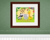 Zoo Safari Animals Kids Name Customizable Nursery Art - 8x10 - DIY Printable