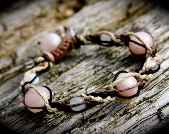 Moonstone and Rose Quartz Triple Spiral Organic Hemp Healing Bracelet