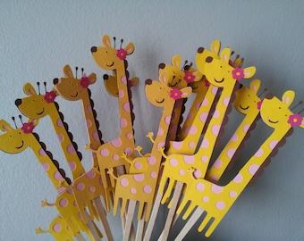 12 Giraffe girls cupcake toppers