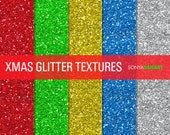 50% OFF SALE Christmas Glitter Digital Paper Holiday Glitter Textures Printable Paper Pack Christmas Glitter Clipart SALE