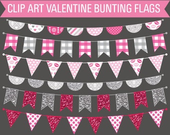 Clipart Valentine's Day Bunting Banner Flags