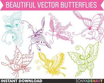 Butterfly Clipart, Clipart Butterflies, Digital Butterflies, Clipart, Clip Art, Butterflies, Insect Clipart, Spring Clipart