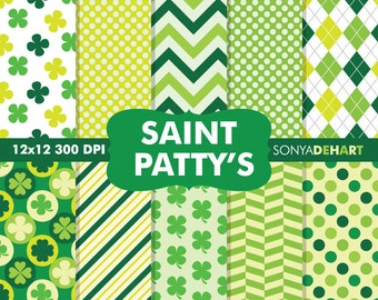 70% OFF SALE Saint Patrick Papers, Saint Patrick's Day, Digital Papers, Clover Digital Paper, Irish Digital Paper, Shamrock Patterns