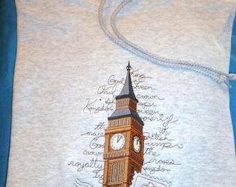 Beautiful Embroidered BIG BEN (London) Hoodie
