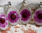 bridesmaid necklace set pressed flower handmade purple daisy jewelry  collection pendants bridal wedding woodland