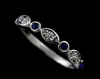 Diamond Sapphire Wedding Ring, Blue Sapphire Women's Wedding Band, Half Way Classic Wedding Ring, Marquise Gold Gemstone Wedding Ring 3.2mm
