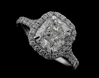 Halo Cushion Engagement Ring, French Cut Micro Pave Set Diamond Ring, Split Shank Cushion Cut Ring, Modern Platinum Engagement Ring Setting