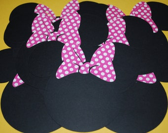 """Minnie Mouse Die Cuts (20)  5""""  with Hot Pink Polka Dot Bows"""