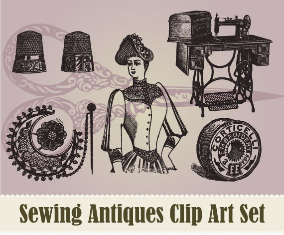 15 Sewing Antiques Clip Art Collection - 100% Scalable Vector Art