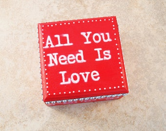 """Red Ring Bearer Box, Pillow Alternative, """"All You Need is Love"""" by Green Orchid Design Studio"""