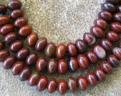 """Large Hole 8mm Rondelle Bead Red Rainbow Jasper  Beads Fit Leather 8"""""""