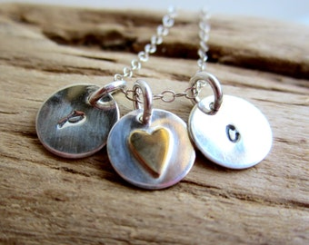 Sweetheart Sterling Silver Necklace with Initials - Mother Jewelry- Bridesmaid Gifts