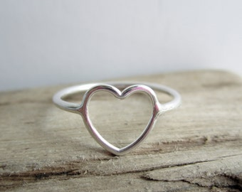 Open Heart Sterling Silver Ring