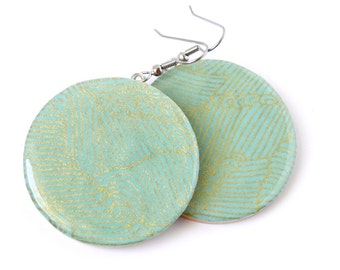 Aqua Earrings, Bright and Bold, Japanese Waves, Chiyogami Yuzen, Large Dangles, MADE TO ORDER, gift under 20