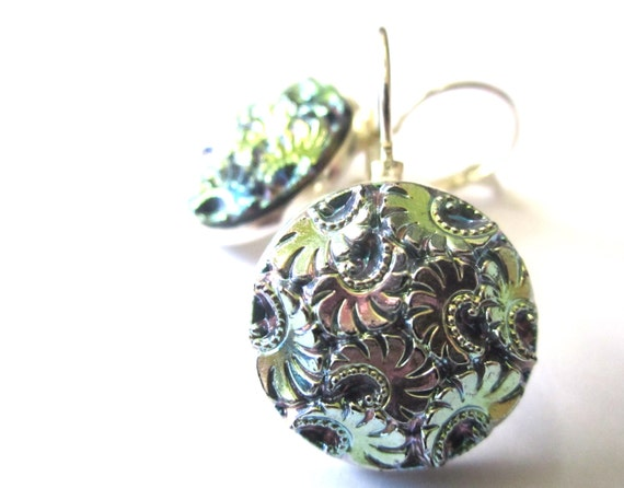 Antique glass button earrings, absolutely iridescent, silver leverbacks. Medium size buttons